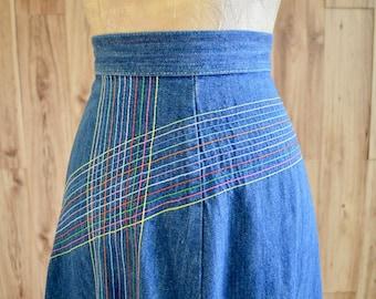 1970s Rainbow Denim A-Line Skirt, True Blue Denim Skirt, Rainbow Stitching, Multi-Color Boho Hippie Denim Midi Skirt