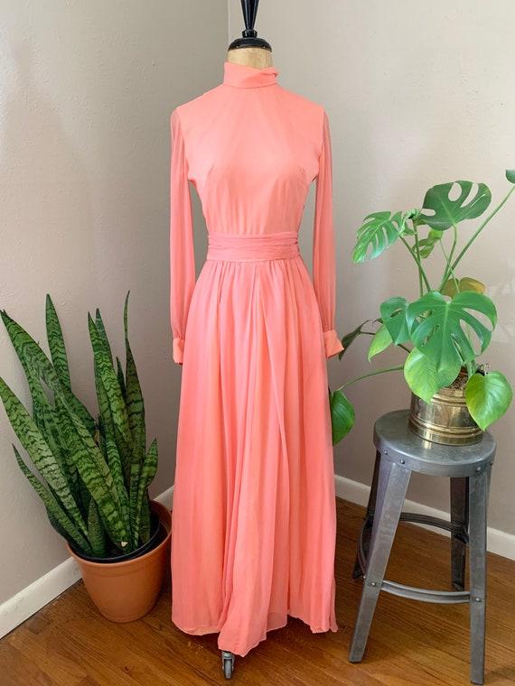 1970s Salmon Pink Maxi, Seventies Gauzy Boho Dress