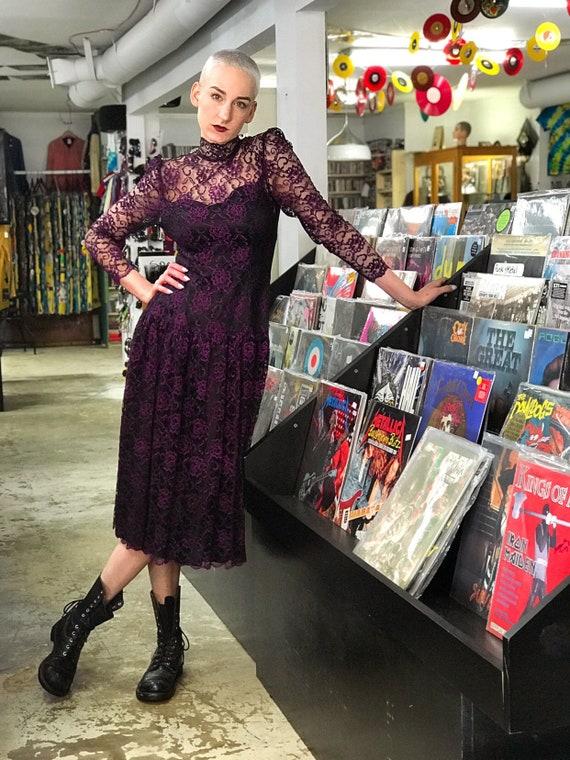 1980s Black & Purple Lace Jessica McClintock Brida