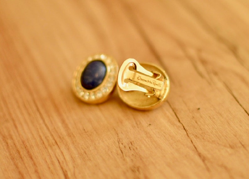 1980s Oval Oscar De La Renta Clip Ons Vintage Oscar De La Renta Jewelry Eighties Gold Tone Navy and Rhinestone Oscar De La Renta Earrings