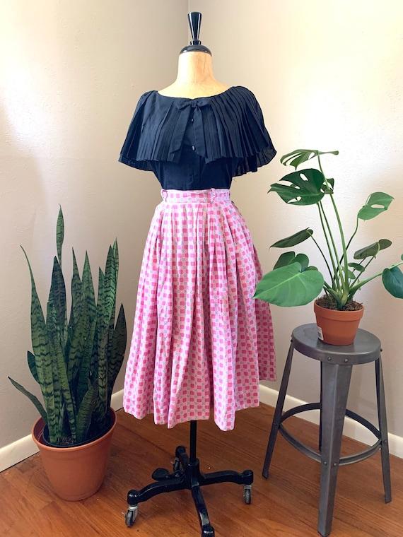 1950s Pink Checkered Skirt, Fifties Gingham Skirt