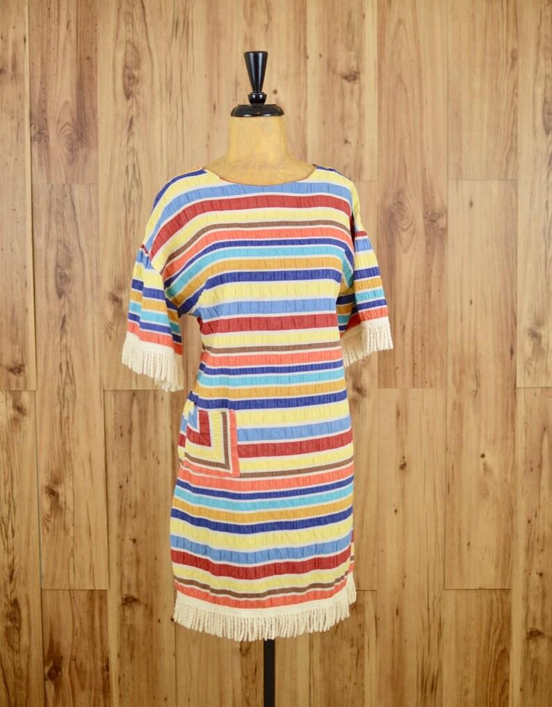 de485de15e 1970s Rainbow   Fringe Dress Seventies Striped Tunic w