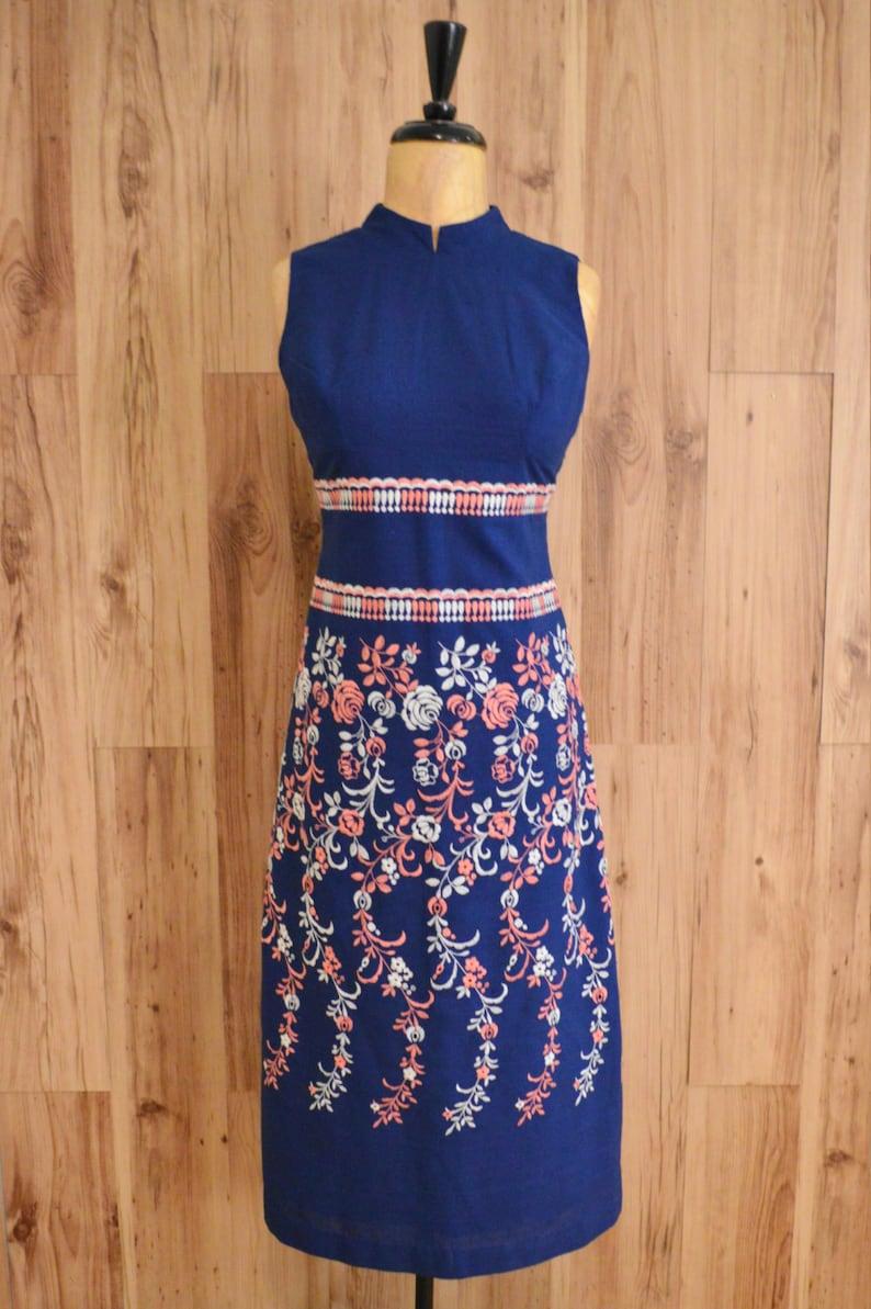 cd27d79e17d 1960s embellished linen shift dress sixties embroidered linen
