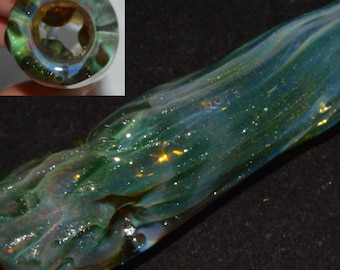 Chillum Pipe Ice Pinch with Sparkly Green Stardust over Double Amber Purple and Crystal Bliss Honeycomb Roots- Handblown Glass Color Changer