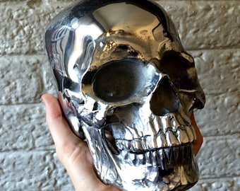 Life Size Metal Skull - Human Skull Cast In SOLID METAL - Polished - Doctor's Office