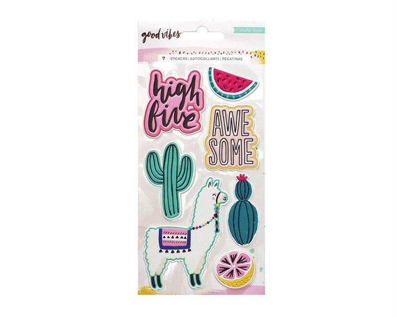 Scrapbooking Maggie Holmes Good Vibes Sticker,Llamas and More Crate Paper