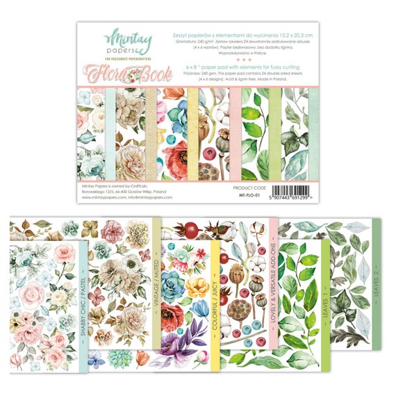 "Mintay Flora Book Pad 6/"" x 8/"" Plants,Garden,Roses,Botanical,Fussy Cut Paper New"