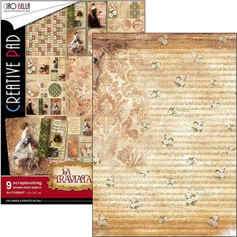 Ciao Bella La Traviata A4 Scrapbooking Paper,Journaling Collage,Card Making,Craft Supplies,Fussy Cutting Paper,Vintage Sytle Paper Set