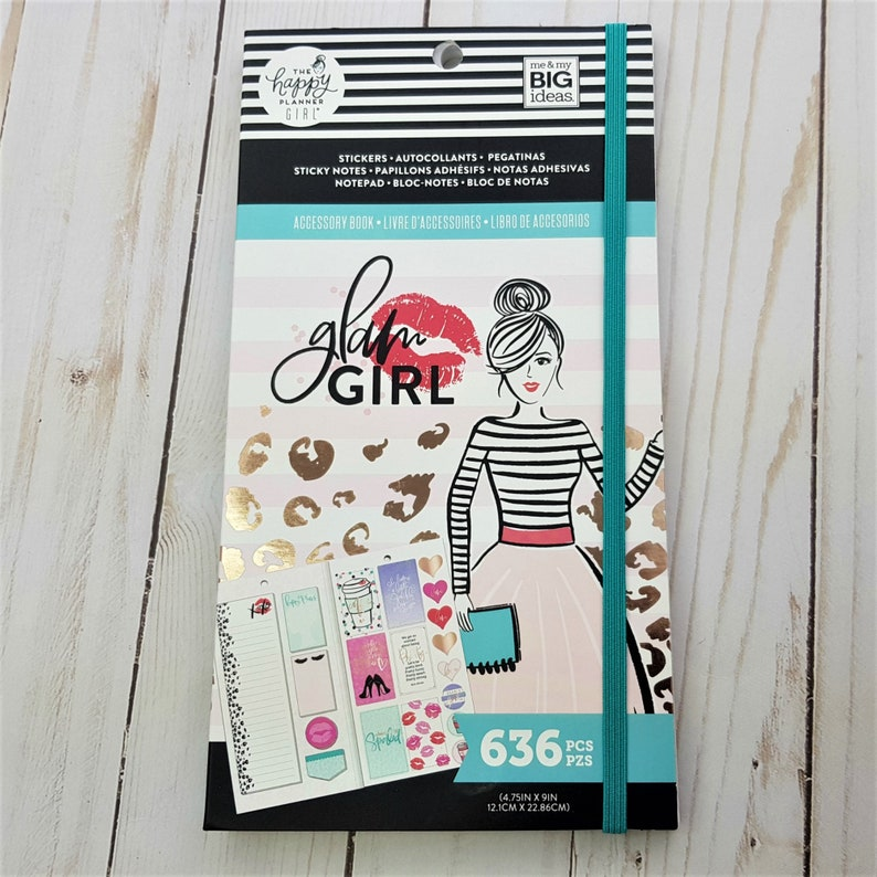 Sticker Book Fashion Girl,Glam Girls Boss,Sticky Note Planner,Gifting,Elegant Glam Girl Happy Planner Accessory Book,Me and My Big Ideas
