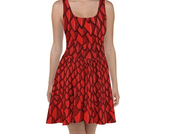 4c5f257615 Dragon Scales GOT Skater Dress Orange Red All Over Print High Quality Dress  Animal Print Khaleesi Dress Gothic Style