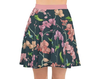 aa456558ff7 Tropical Pattern Skater Skirt Orchids and Hummingbirds Gorgeous Birthday  Gift Christmas Gift XS S M L XL 2XL 3XL