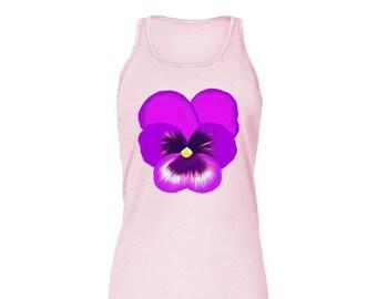 Purple Pansy Flower Bella Flowy Tank