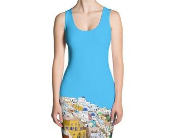 4dd5e225671b Santorini Womens Dress Sublimation Cut and Sew Ladies Greece Turquoise Blue  Greek Island Christmas Gift Colourful Unusual Buildings Design