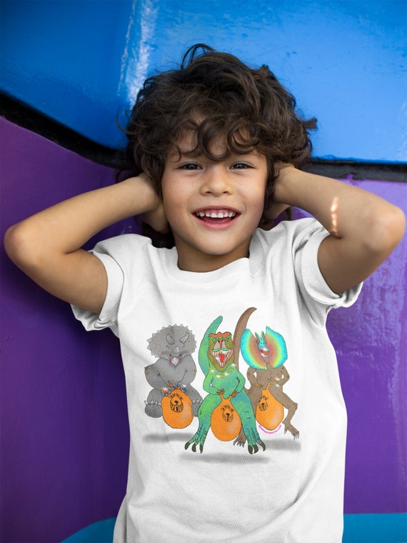 KIds Dinosaurs on Space Hoppers T-shirt