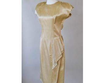 Vintage 80s 40s Gold Wiggle Dress S