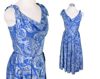 8d99c53cda6 Vintage 1950s Hawaiian Print Sun Dress Blue Silver Cotton Circle 50s 40s M