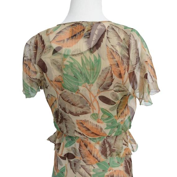 Vintage 1930s Dress  Art Deco Print Silk Chiffon … - image 7