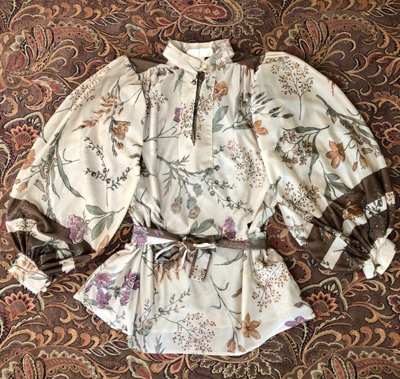Vintage 1970s Peasant Blouse Boho Top M