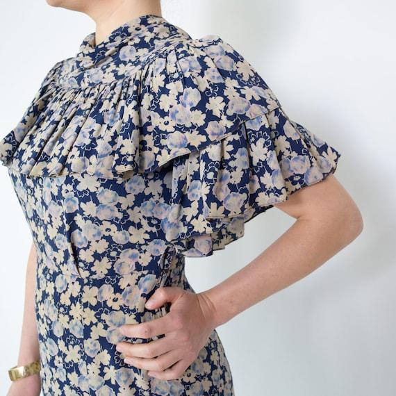 Vintage 1930s Dress Floral Ruffled Silk Day Dress… - image 1