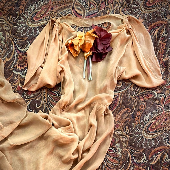 Vintage 1930s Dress Gown Silk Chiffon Bias Cut Sil