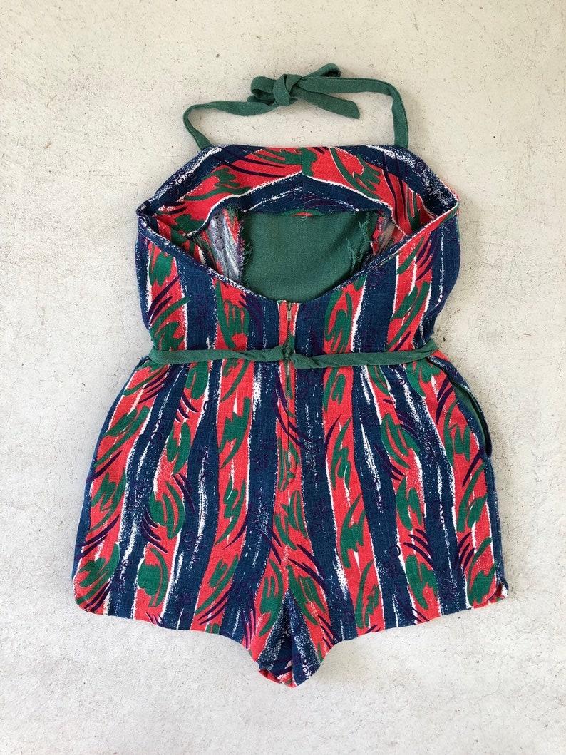 Vintage 1940s Playsuit Romper Deco Print  Onesie Jumpsuit Cotton M