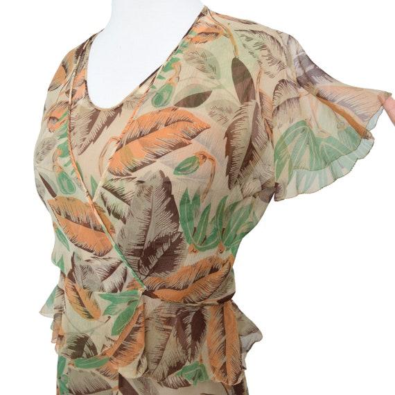 Vintage 1930s Dress  Art Deco Print Silk Chiffon … - image 2