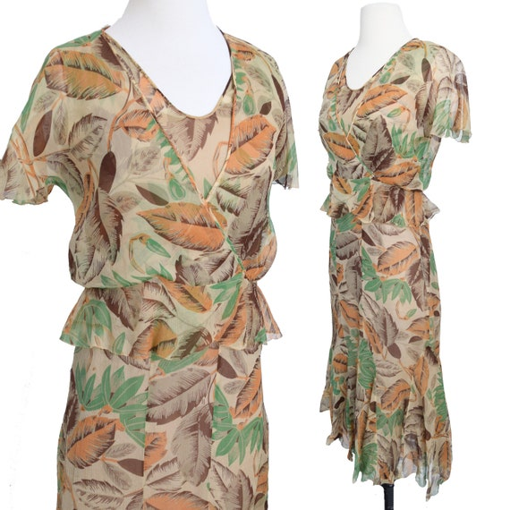 Vintage 1930s Dress  Art Deco Print Silk Chiffon W
