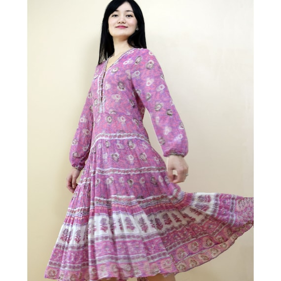 Vintage 1970s Dress By Adini Indian Block Print Ga