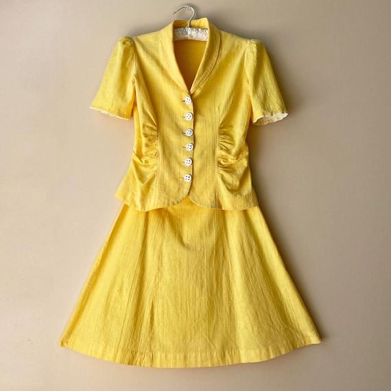 Vintage 1940s Dress Suit Skirt Top Sportswear Cott