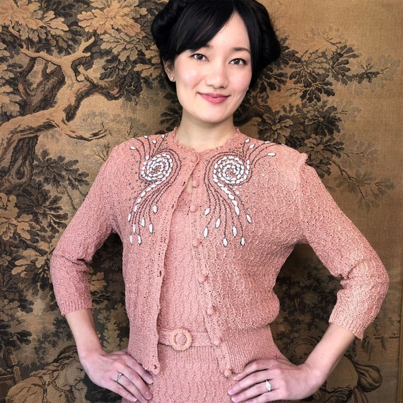 Vintage 1940s Knit Dress Set Pink Beaded Sweater C