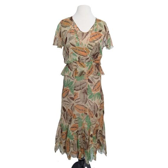 Vintage 1930s Dress  Art Deco Print Silk Chiffon … - image 4