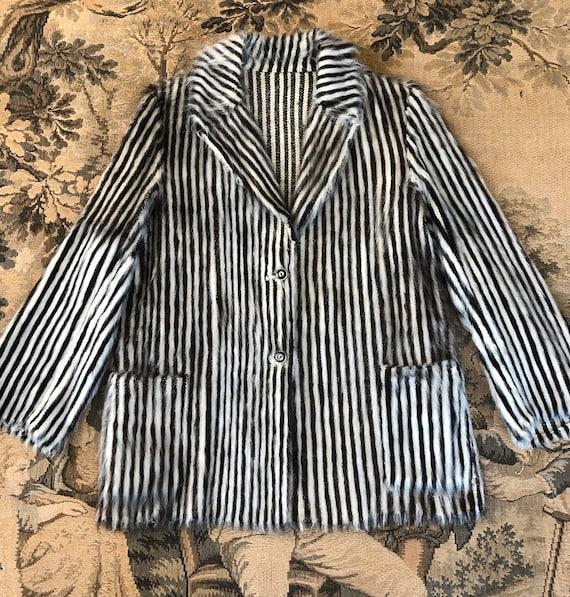 Vintage Art Deco Blanket Coat Black& White Stripe