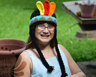 ALL SIZES/COLORS Indian Wig Pigtails Headband Feathers Thanksgiving Hat Beanie