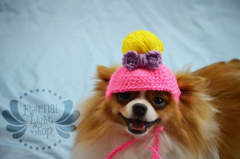 ANY Sizes/Colors Pet Messy Bun Bow Hat Beanie XS-XL Pony image 0