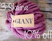 3 POUNDS 96 colors / GIANT Yarn - 3 Skeins - Merino wool 19 micron - Handspun  Yarn - Blanket Yarn - Super  Chunky Yarn -