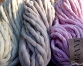 SILK+MERINO 63 colors  - Giant Handspun yarn - One Pound - Blanket Yarn - Super Chunky Yarn