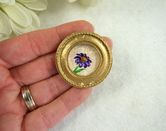 Miniature Original Artwork, Dollhouse Painting, Daisy Collectible Miniature Art, Miniature Painting, Handpainted Round Framed Original Art