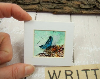 Miniature Painting, Blue Butterfly, Original Ink Artwork, Ink Painting Mounted, Dollhouse Painting, Collectors Artwork, Butterfly Painting