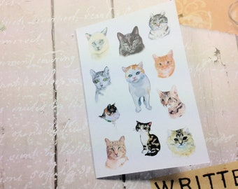 Notelet Blank Cards, Pack 4, Cats Themed, Small Cards, Fine Art Giclee Prints, Card Pack, Variety of Cats Blank Greeting Card Pack,
