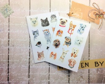 Notelet Blank Cards, Pack 4, Dogs and Cats Themed, Small Cards, Fine Art Giclee Prints, Card Pack, Cats and Dogs Blank Greeting Card Pack,