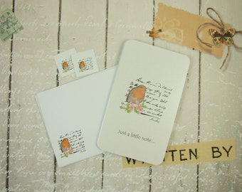 Notelet Blank Cards, Pack 2, Robin Cards with Printed Envelopes and Stickers, Small Notecard Greeting Cards, Blank Cards, Gift Cards, Bird