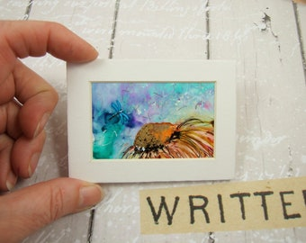 Miniature Painting, Dancing Dragonfly, Original Ink Artwork, ACEO, ATC, Mounted, Dollhouse Painting, Collectors Artwork, Mixed Media Art