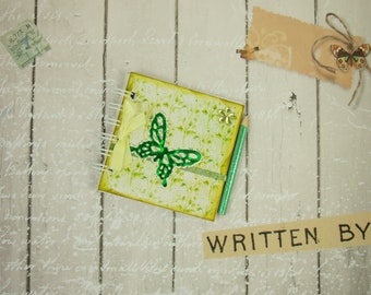 Mini Notebook, Vintage with Green Butterfly, Handmade Emergency Contact Numbers Book, Blank Book, Miniature Book 4 x 4 Inches, Photo Album