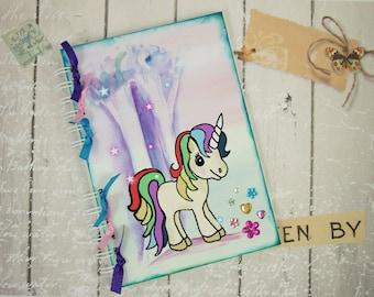 Handmade Personalised Journal Memory Book A5 Size,  Magical Rainbow Unicorn, Choose Notebook Journal Writing Book or Memory Scrapbook Book