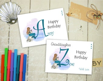 Personalised Mermaid Birthday Card, Mermaid Card, Personalised Sentiment and Insert, 7x5 Inch Card Any Occasion Custom Mermaid Card, Child