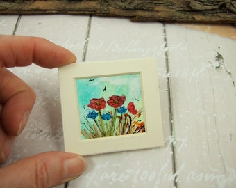 Miniature Painting, Meadow Flowers, Original Ink Artwork, Ink Painting Mounted, Dollhouse Painting, Collectors Artwork, Poppy Floral Art