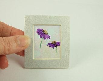 Miniature Painting, Purple Daisy Flowers, Original Ink Artwork, Mounted. Dolls House, Dollhouse Painting, Collectors Artwork, Floral Art