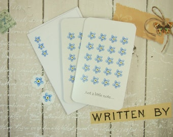 Notelet Blank Cards, Pack 2, Forget Me Not Cards with Printed Envelopes and Stickers, Small Notecard Greeting Cards, Blank Cards, Gift Cards