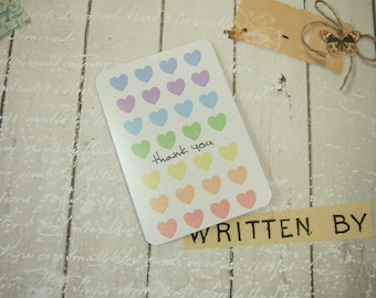 Heart Thank You Cards, Pack 4, Rainbow Hearts. Small Notecard Greeting Cards, Blank Card, Thank You, Just To Say, Thinking of You, With Love