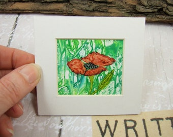 Miniature Painting, Poppy, Original Ink Artwork, Mounted, Dollhouse Painting, Collectors Artwork, Mixed Media Art, Meadow Poppy Artwork